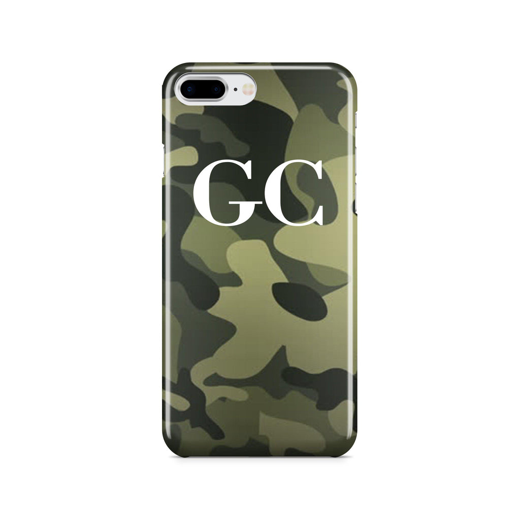 Personalised Green Camouflage Initials iPhone 8 Plus Case
