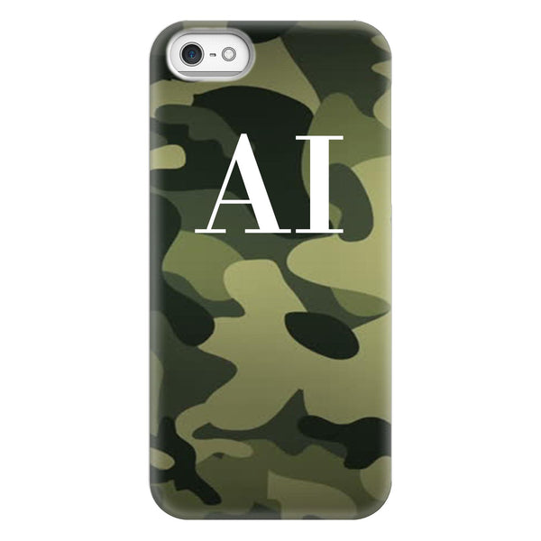Personalised Green Camouflage Initials iPhone 5/5s/SE (2016) Case