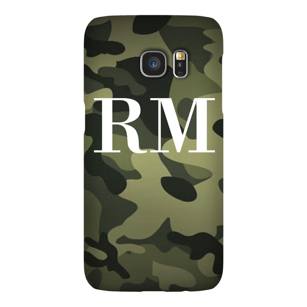 Personalised Green Camouflage Initials Samsung Galaxy S7 Edge Case