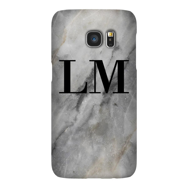 Personalised Grey Stone Marble Initials Samsung Galaxy S7 Case