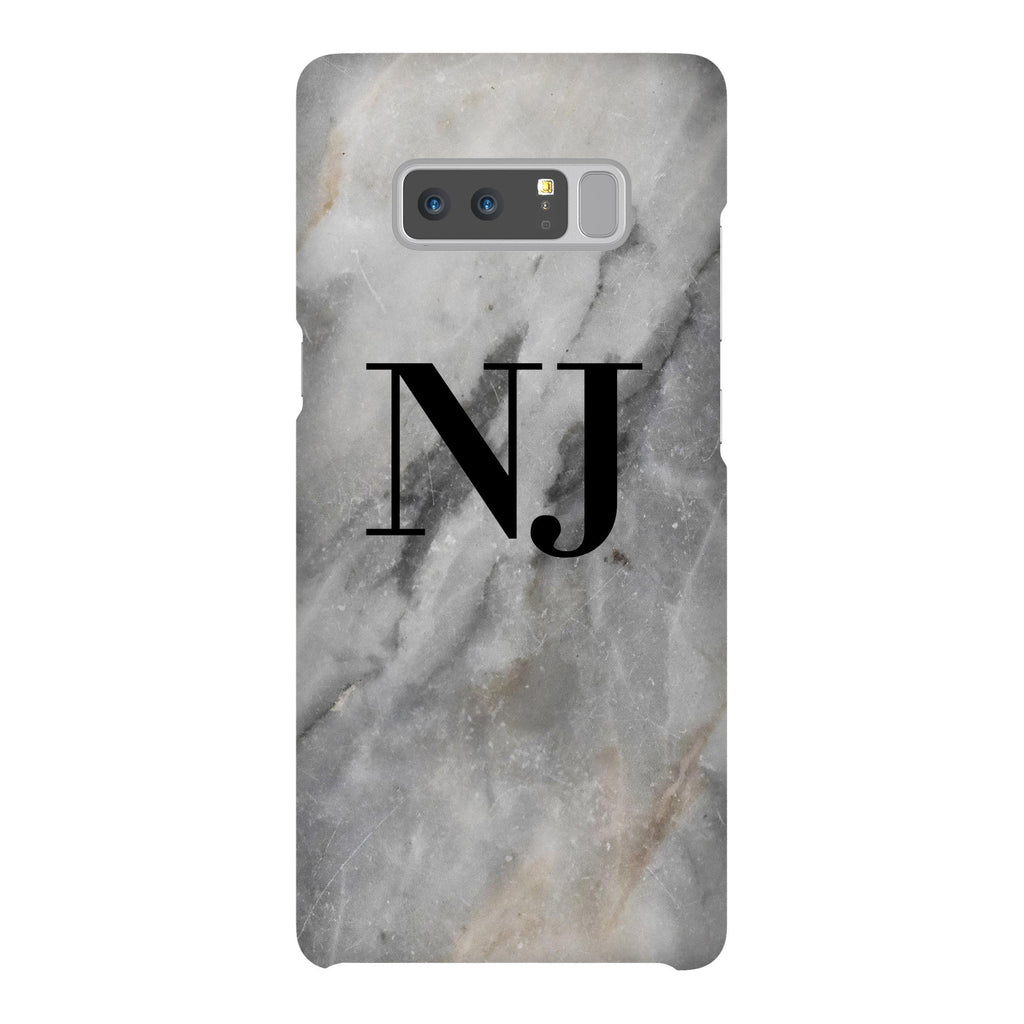 Personalised Grey Stone Marble Initials Samsung Galaxy Note 8 Case