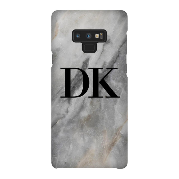 Personalised Grey Stone Marble Initials Samsung Galaxy Note 9 Case