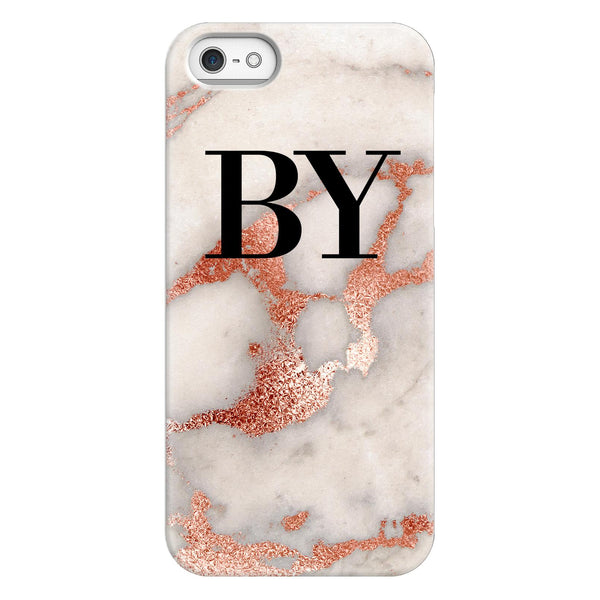 Personalised Grey x Rose Gold Marble Initials iPhone 5/5s/SE (2016) Case