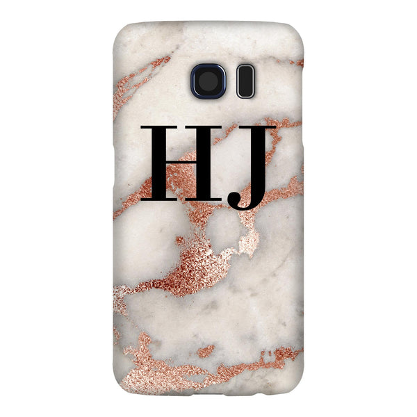 Personalised Grey x Rose Gold Marble Initials Samsung Galaxy S6 Edge Case