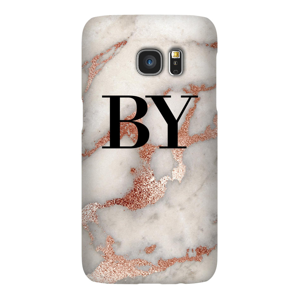 Personalised Grey x Rose Gold Marble Initials Samsung Galaxy S7 Edge Case