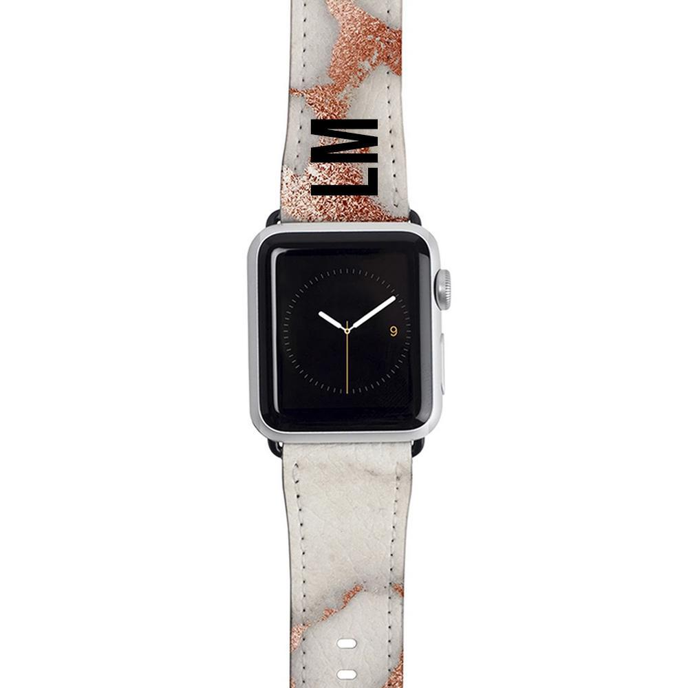 Personalised Grey x Rose Gold Marble Apple Watch Strap