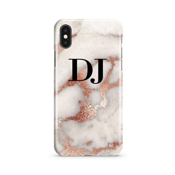 Personalised Grey x Rose Gold Marble Initials iPhone XS Max Case