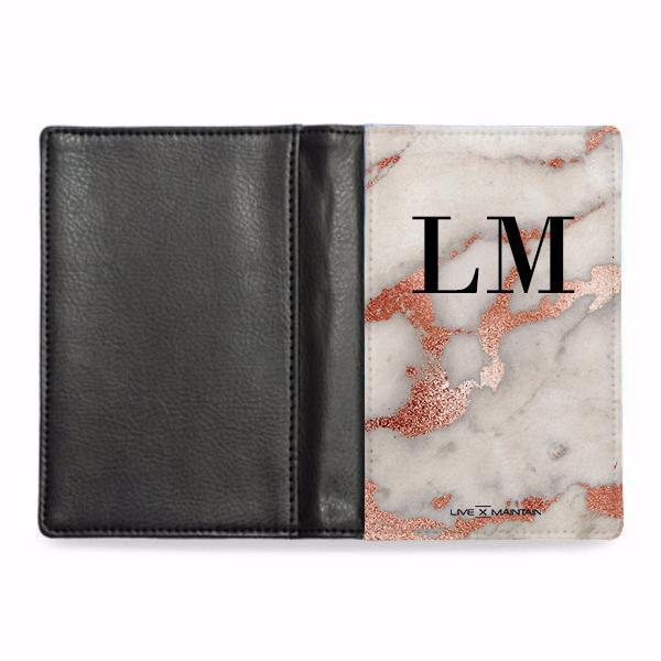 Personalised Grey x Rosegold Marble Initials Passport Cover