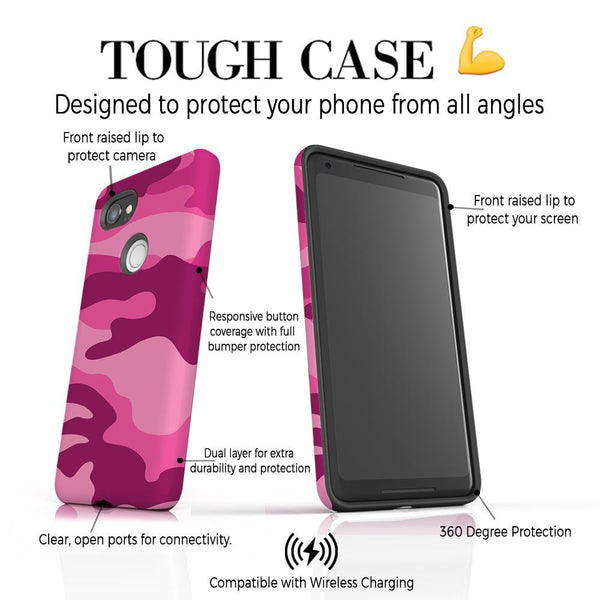 Personalised Hot Pink Camouflage Initials Google Pixel 2 XL Case