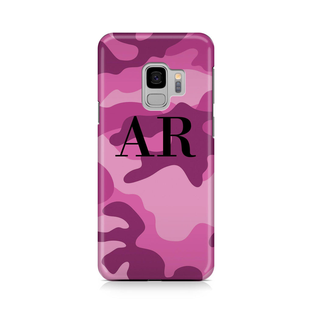 Personalised Hot Pink Camouflage Initials Samsung Galaxy S9 Case