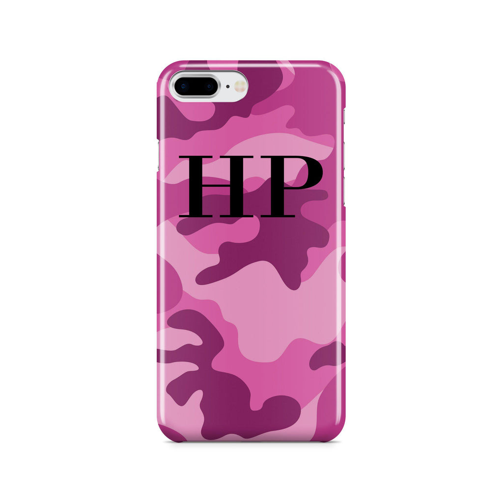 Personalised Hot Pink Camouflage initials iPhone 7 Plus Case