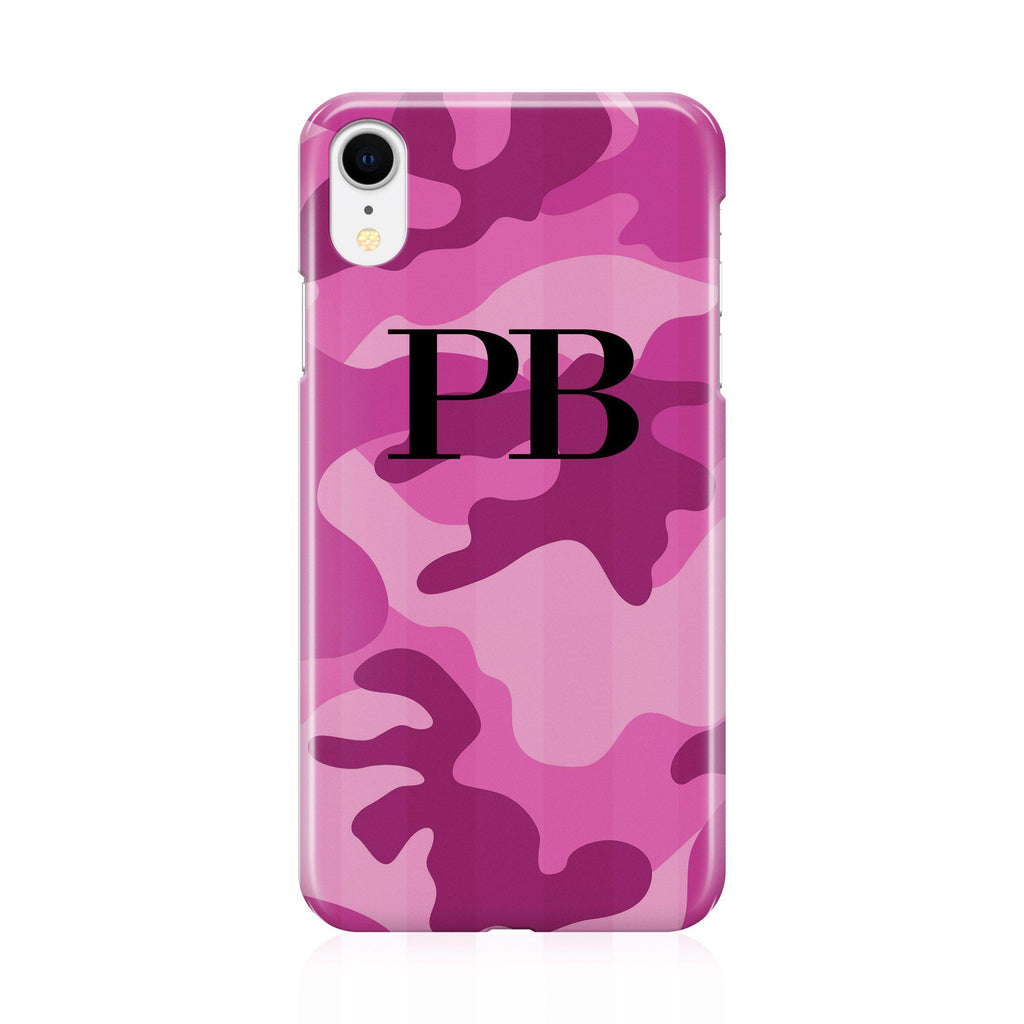 Personalised Hot Pink Camouflage Initials iPhone XR Case