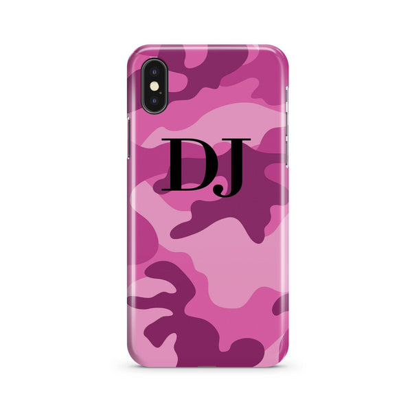 Personalised Hot Pink Camouflage Initials iPhone XS Case