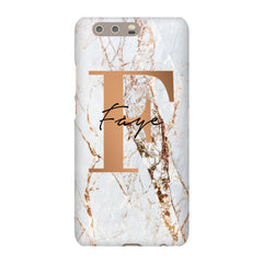 Personalised Cracked Marble Bronze Initials Huawei P10 Plus Case