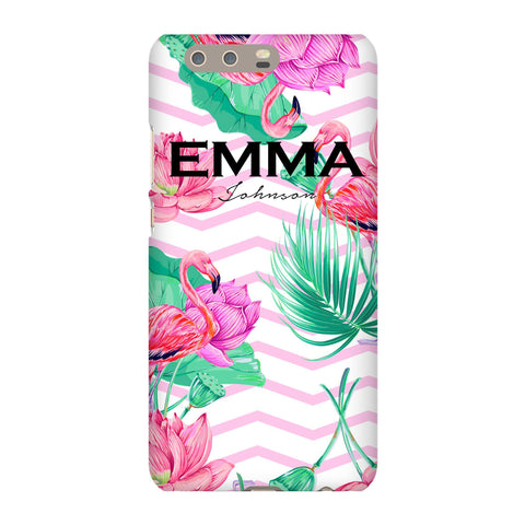 Personalised Flamingo Name Huawei P10 Plus Case