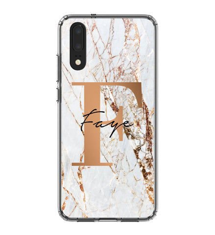 Personalised Cracked Marble Bronze Initials Huawei P20 Case