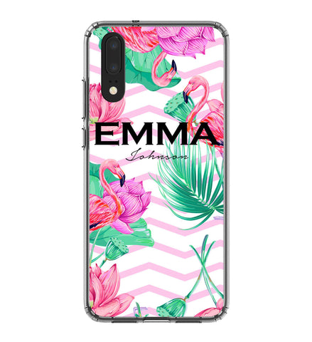 Personalised Flamingo Name Huawei P20 Case