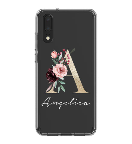 Personalised Floral Initial Name  Huawei P20 Clear Case