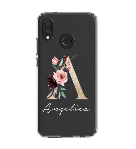 Personalised Floral Initial Name Huawei P20 Lite Clear Case