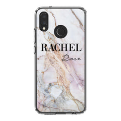 Personalised White Galaxy Marble Name Huawei P20 Lite Case