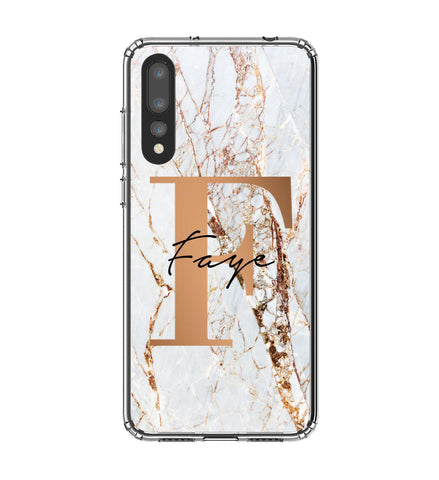 Personalised Cracked Marble Bronze Initials Huawei P20 Pro Case