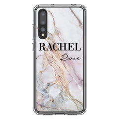 Personalised White Galaxy Marble Name Huawei P20 Pro Case