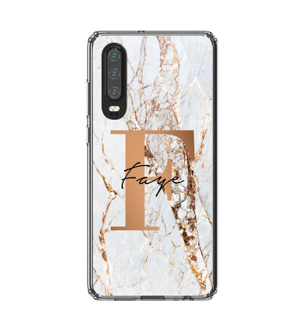 Personalised Cracked Marble Bronze Initials Huawei P30 Case