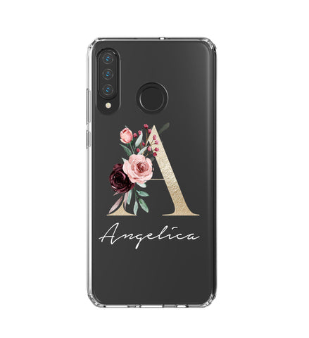Personalised  Floral Initial Name Huawei P30 Lite Clear Case