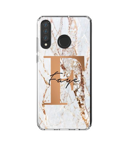 Personalised Cracked Marble Bronze Initials Huawei P30 Lite Case