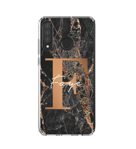 Personalised Slate Marble Bronze Initial Huawei P30 Lite Case