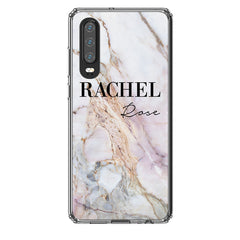 Personalised White Galaxy Marble Name Huawei P30 Case