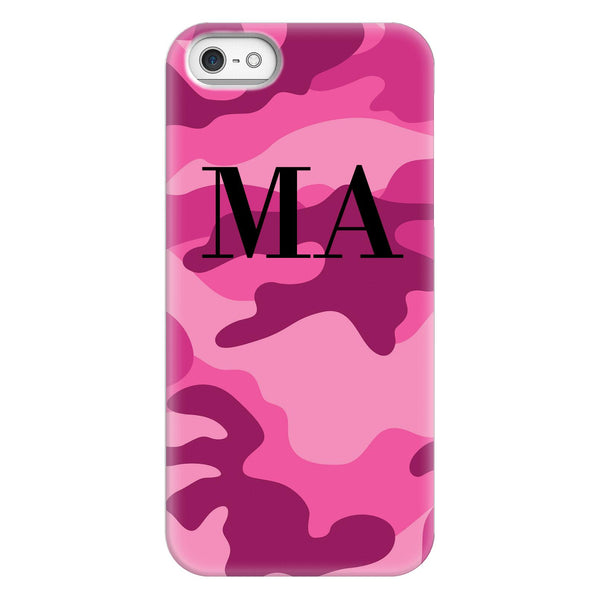 Personalised Hot Pink Camouflage initials iPhone 5/5s/SE (2016) Case