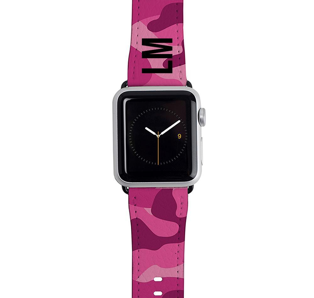 Personalised Hot Pink Camouflage Apple Watch Strap