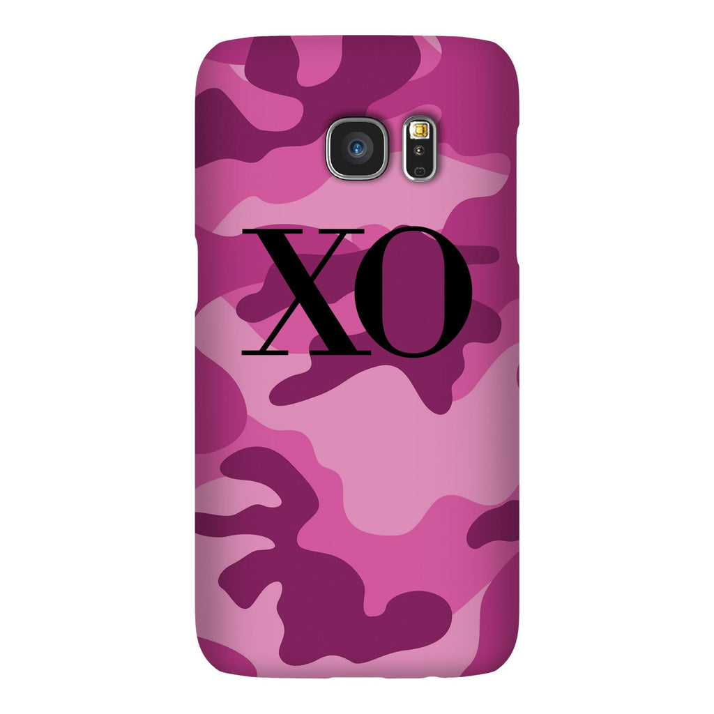 Personalised Hot Pink Camouflage Initials Samsung Galaxy S7 Case