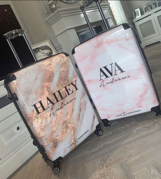 Personalised Cotton Candy Marble Name Suitcase