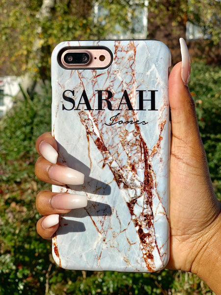 Personalised Cracked Marble Name iPhone X Case