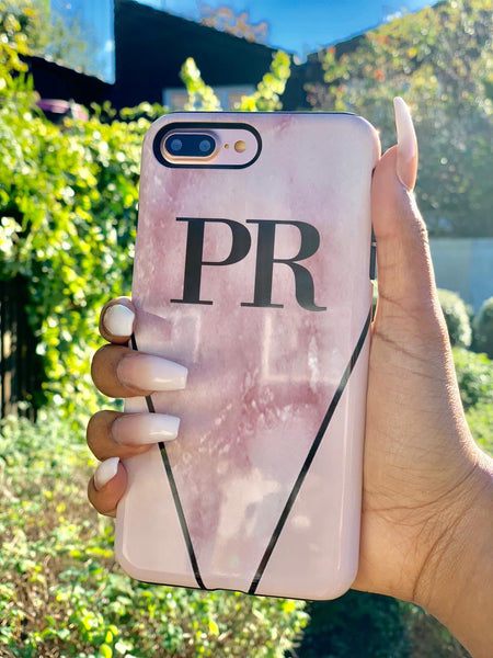 Personalised Pink x Rosa Marble Contrast iPhone 8 Plus Case