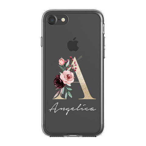 Personalised Floral Initial Name iPhone 7 Clear Case