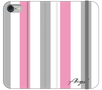 Personalised Pink x Grey Stripe iPhone 7 Case