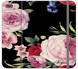 Personalised Black Floral Blossom Initials iPhone 8 Plus Case