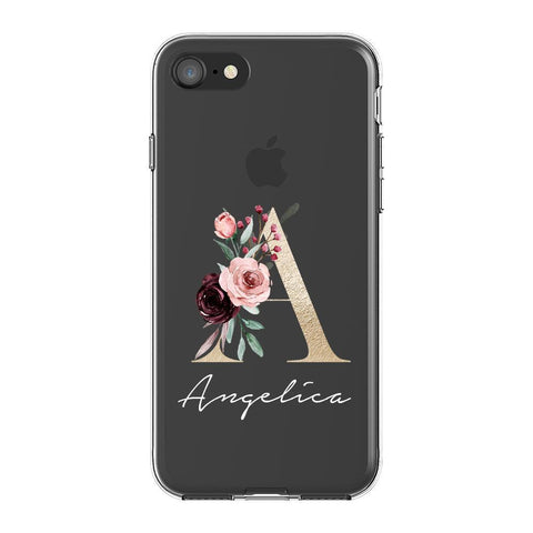 Personalised Floral Initial Name iPhone SE Clear Case