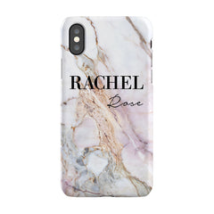 Personalised White Galaxy Marble Name iPhone XS Case