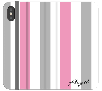 Personalised Pink x Grey Stripe iPhone XS Max Case