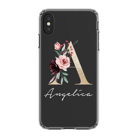 Personalised Floral Initial Name iPhone XS Max Clear Case