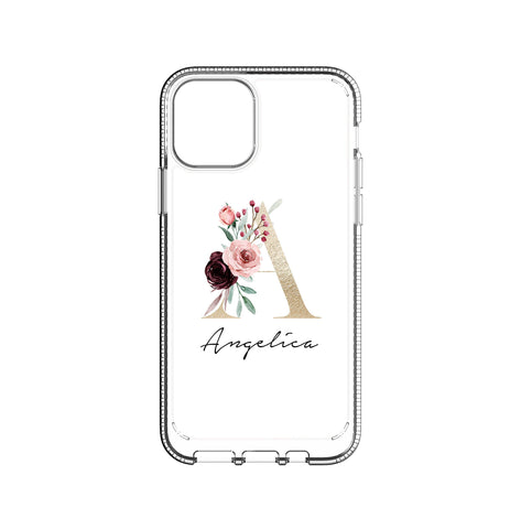 Personalised Floral Initial Name iPhone 11 Pro Clear Case