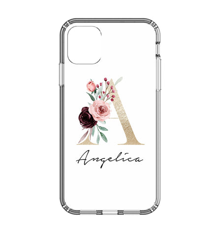 Personalised Floral Initial Name iPhone 11 Clear Case