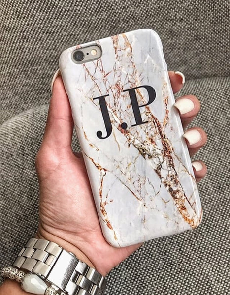 Personalised Cracked Marble Initials Samsung Galaxy S7 Edge Case