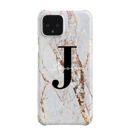 Personalised Cracked Marble Name Initials Google Pixel 4 Case