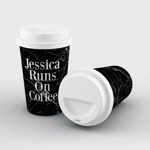 Personalised Black Marble Runs On Coffee Reusable Cup