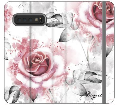 Personalised Floral Rose Initials Samsung Galaxy S10 Case
